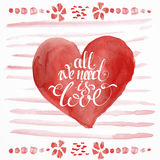 Raced watercolor St. valentine's cards Stock Photo