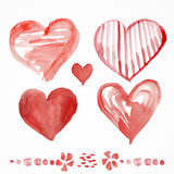 Raced watercolor St. valentine's cards Stock Images