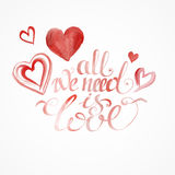 Raced watercolor St. valentine's cards Stock Image