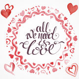 Raced watercolor St. valentine's cards Royalty Free Stock Photography