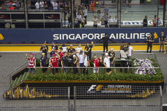 Raceday principal de la fórmula 1 de Singapur Foto de archivo libre de regalías