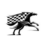 Racehorse with racing flag icon. Racehorse stallion symbol rearing up ready to run with flowing racing flag in a shape of mane. Horse racing badge or equestrian Stock Photography