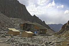 Racek hut. Hotel for alpinists called Racek Hut, Ala-Archa gorge, Kyrgyzstan. 3300 meters above sea level Royalty Free Stock Image