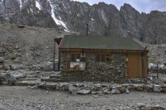 Racek hut. Hotel for alpinists called Racek Hut, Ala-Archa gorge, Kyrgyzstan. 3300 meters above sea level Stock Photo