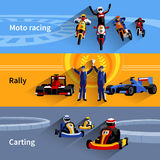 Racer Banners Set Stock Images