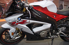 Racer bike BMW S1000 RR. Promotion of new racer BMW S1000 RR at the Belgrade Motor Show, May 2017. Originally it was prepared for the World Championship Royalty Free Stock Photo