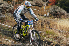 Racer cyclist riding along the earthen trail Royalty Free Stock Image