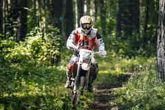 Racer Enduro rides on the race Stock Images