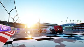 Racer of formula 1 in a racing car. Race and motivation concept. Wonderfull sunset. 3d rendering. Stock Images