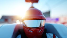 Racer of formula 1 in a racing car. Race and motivation concept. Wonderfull sunset. 3d rendering. Royalty Free Stock Photos