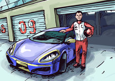 Racer and his car Royalty Free Stock Images
