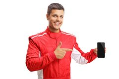 Racer holding a phone a smart phone and pointing Stock Images