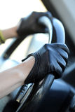 Racer in leather gloves Stock Photo