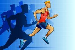 Racer in Marathon royalty free illustration