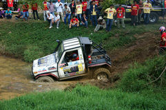 Racer offroad at terrain racing car competition Royalty Free Stock Image