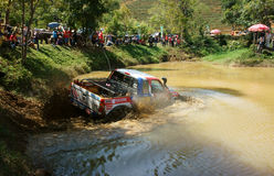 Racer offroad at terrain racing car competition Royalty Free Stock Images
