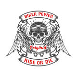 Racer skull with wings and two crossed pistons. Biker power. Rid vector illustration
