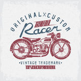 Racer vintage vector grunge  motorcycle and wrenches Royalty Free Stock Images