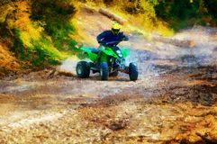 Racer with yellow helmet on green quad enjoying his ride outdoors. Computer painting effect. stock photography