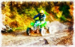 Racer with yellow helmet on green quad enjoying his ride outdoors. Computer painting effect. royalty free stock photo