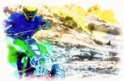 Racer with yellow helmet on green quad enjoying his ride outdoors. Computer painting effect. stock image