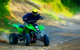 Racer with yellow helmet on green quad enjoying his ride outdoors. graphic version. Stock Image
