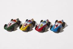 Racerbil N°1, N°2, N°3, N°4, hög av modeller Arkivfoton