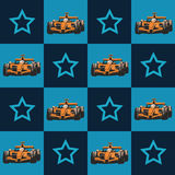 Racerbil och stjärna modell royaltyfri illustrationer