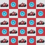 Racerbil och stoppur modell royaltyfri illustrationer