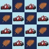 Racerbilen och gömma i handflatan filialen modell stock illustrationer