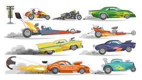 Racerbilvektorfriktion som springer på speedcar på ett spår, och den auto boliden som kör på, samlar sporthändelseformelgrandprix vektor illustrationer