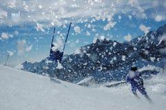 raceren skidar slalom Royaltyfria Bilder