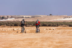Racers bike desert area Royalty Free Stock Images
