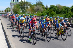 The racers are on Bila Tserkva stage of International road race Tour of Ukraine 2017 Stock Photography