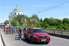 The racers are on Bila Tserkva stage of International road race Tour of Ukraine 2017 Stock Images