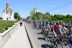 The racers are on Bila Tserkva stage of International road race Tour of Ukraine 2017 Royalty Free Stock Photography