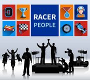 Racers Concept Illustration. Racers and rallies concept with tracks flags and finish flat  vector illustration Royalty Free Stock Image