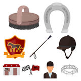 Races on horseback, hippodrome. Horse racing and equipping riders.Hippodrome and horse icon in set collection on cartoon. Style vector symbol stock web Stock Photography