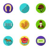 Races on horseback, hippodrome. Horse racing and equipping riders.Hippodrome and horse icon in set collection on flat. Style vector symbol stock web Stock Images