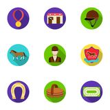 Races on horseback, hippodrome. Horse racing and equipping riders.Hippodrome and horse icon in set collection on flat Stock Images
