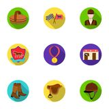 Races on horseback, hippodrome. Horse racing and equipping riders.Hippodrome and horse icon in set collection on flat. Style vector symbol stock web Stock Photography