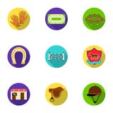 Races on horseback, hippodrome. Horse racing and equipping riders.Hippodrome and horse icon in set collection on flat. Style vector symbol stock web Royalty Free Stock Photography
