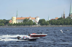 Races on sportboats in Riga, Latvia Stock Images
