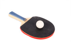 Racet for ping-pong and white ball Stock Image