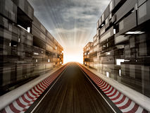 Racetrack in evening light bussiness city Royalty Free Stock Images
