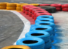 Racetrack fence of old tires Stock Images
