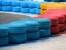 Racetrack fence of old tires Stock Photography