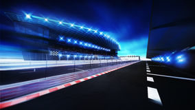 Racetrack finish area with box line and main tribune. Racing sport digital background illustration Stock Photography