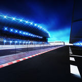Racetrack finish area with box line and shining spotlights. Racing sport digital background illustration Stock Images