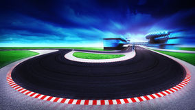 Racetrack general view and grand turning at the front Royalty Free Stock Image